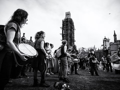 Drums and Helicopters (Feldore) Tags: london extinction rebellion protest protestors climate change parliament westminster feldore mchugh em1 olympus police surveillance helicopter drums band demonstration