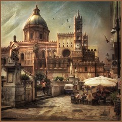 """from the series """"Walking in Italy"""".  Palermo. (odinvadim) Tags: mytravelgram iphoneart iphone iphoneography iphoneonly evening painterlymobileart snapseed textures travel icolorama oldhouse instapickskyart iphonex textured old church"""