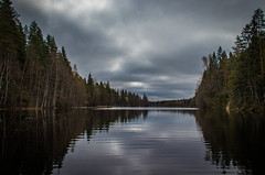 Narrow lake (mabuli90) Tags: finland lake water forest woods spring clouds sky tree