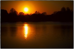 The hectic of the day burns up in the golden glow of the evening - the soul rejoices. (ahmBerlin) Tags: see lake sunset sonnenuntergang spandau berlin germany glow schein spiegelung reflection natur nature himmel sky trees bäume wasser water sun sonne abend evening kiesteich
