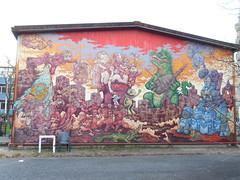 038 (en-ri) Tags: godzilla rosso verde azzurro biancaneve topolino paperino snoopy torino wall muro graffiti writing