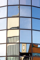 Reflections (Karen_Chappell) Tags: memorialuniversity university mun campus stjohns glass windows window architecture building reflection reflections abstract distortions city urban canada newfoundland nfld clock geometry geometric squares blue atlanticcanada avalonpeninsula eastcoast canonef24105mmf4lisusm