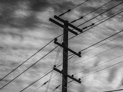 (AAcerbo) Tags: sanfrancisco california bw urban architecture wires telephonepoles highcontrast sky clouds