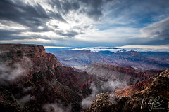 Dynamic Canyon View (Timothy S. Photography) Tags: grandcanyon arizona unitedstatesofamerica cloudyday cloudyphotography hiking hikersview