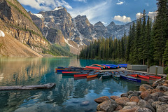 One of the Most Beautiful Places on Earth (Phil's Pixels) Tags: lakemoraine morainelake tenpeaks canoes canoeing paddlers reflections banff banffnationalpark alberta canada oneofthemostbeautifulplacesonearth
