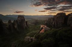 Standing tall (AlexanderHorn) Tags: meteora greece landscape sunset magical mystical beautiful earth cloudscape amazing europe rocks mountains