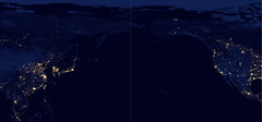North Pacific Ocean at Night (sjrankin) Tags: 15may2019 edited panorama northpacific northpacificocean eastasia westernnorthamerica mexico unitedstates canada arcticocean russia korea china japan citylights hawaii usgs noaa nasa suominpp snpp 2108mb large