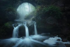 [ ... otherworld ] (D-P Photography) Tags: landscape landschaft luxemburg schiessentümpel river stream waterfall bridge mystic dark mood fog mist glow sunrise dennispolkläser dpphotography canon haida feisol