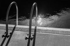Season's end (OzzRod (on the wallaby)) Tags: sony a7rii smctakumar55mmf18 monochrome blackandwhite shadows sunbursts oceanbaths ladder water merewether newcastle dailyinmay2019