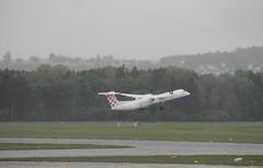 9A-CQC Bombardier Dash 8 Q400 - Croatia Airlines (Ray's Photo Collection) Tags: zurich rain 9acqc zürich zrh airport flughafen switzerland schweiz suisse aircraft flugzeug airliner plane bombardier dash8 q400 dhc8 croatia airlines
