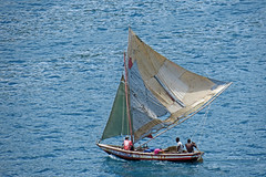 'The Name of Jesus' returning to port under sail - Labadee, Haiti (TravelsWithDan) Tags: sailboat candid men fishermen water blue caribbean haiti labadee fromabove undersail fishingboat laterthanafternoon canong3x