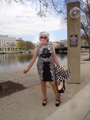 On The Banks Of The Milwaukee River (Laurette Victoria) Tags: river downtown milwaukee milwaukeeriver woman laurette dress silver sunglasses