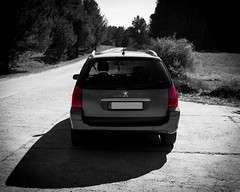 In Memory (insVisier) Tags: peugeot 307 sw car auto red rot greyscale