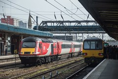 43208 and 144006, Doncaster (JH Stokes) Tags: lner londonnortheasternrailway hst highspeedtrain class144 northernrail pacer railbus 144006 43208 ecml eastcoastmainline doncaster trains trainspotting tracks transport railways photography publictransport