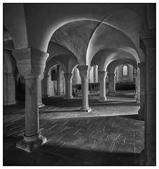 """Klosterkirche """"St. Georg und Maria"""",  Lippoldsberg/Wahlsburg   -   Nonnenkrypta (Max-Friedrich) Tags: flexbody distagon architektur sw romanik klosterkirche gewölbe kreuzgewölbe"""