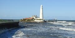 'Orion' Passing behind St. Mary's Island (Gilli8888) Tags: nikon p900 coolpix whitleybay tyneandwear northsea northtyneside lighthouse stmaryslighthouse stmarysisland coast coastal eastcoast sea seaside shoreline turbines windturbines orion