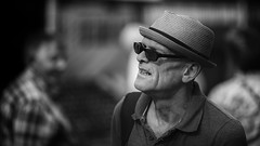 Fancy hat (Frank Fullard) Tags: frankfullard fullard candid street portrait antrim irish ireland northernireland ballycastle monochrome black white blanc noir shades porkpie fair ulster