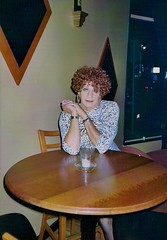 """""""Hey There, Lonely Girl"""" (Laurette Victoria) Tags: curly redhead dress animalprint woman laurette bar milwaukee"""