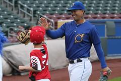 Cuthbert fives (Minda Haas Kuhlmann) Tags: sports baseball milb minorleaguebaseball pacificcoastleague omahastormchasers nebraska omaha papillion sarpycounty outdoors fans highfives onfieldpromotions cheslorcuthbert
