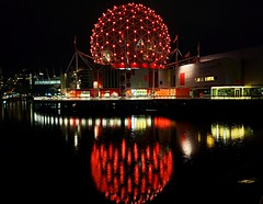 Red Reflection (walneylad) Tags: telusworldofscience scienceworld falsecreek chinatown vancouver britishcolumbia canada night evening darkness lights water reflection urban city skyline cityscape building condos towers dark sky clouds spring may dome geodesicdome colours red flags
