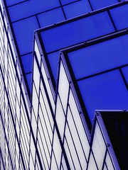 Jagged Diagonal (2n2907) Tags: different perspective abstract architecture photo glass windows building skyscraper graphic geometric geometry pattern lines blue white diagonal jagged olympus omd mirtorless
