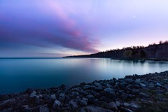 Diagonals (LarryJH) Tags: scarborough scarboroughbluffs sunset moon crescentmoon rocks reflections lakeontario lake