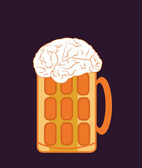 illustration of a beer glass with brain on top (illustrationvintage) Tags: conceptual brain thinking thought imagination creation creativity idea central process thinkingprocess bright intelligence evrika discovery intelligent neuron concept symbol creative mind abstract design human isolated graphic brainstorm medical medicine inspiration knowledge health learn beer alcohol