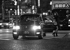 midnight cab (gro57074@bigpond.net.au) Tags: f14 105mmf14 sigma d850 nikon 2019 february midnightcab guyclift monochromatic monotone monochrome mono bw blackwhite midnight night woman taxi japan tokyo