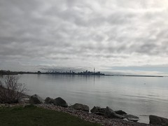 A longer shot of the lake and C N Tower (Trinimusic2008 -blessings) Tags: trinimusic2008 judymeikle nature today walk may 2019 spring iphone toronto to ontario canada humberbayparkw lake lakeontario sky trees water clouds gratitude happiness health thecntower