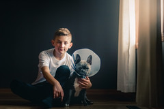 (Rebecca812) Tags: boy dog pets pet animal frenchie frenchbulldog coneofshame surgery cone friendship boyhood child canon portrait togetherness love bond gray cute puppy armaround fulllength people animals dogs rebecca812 sunlight window