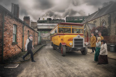 Local Bus (brian_stoddart) Tags: transport train bus characters street buildings sky composite road tone vintage
