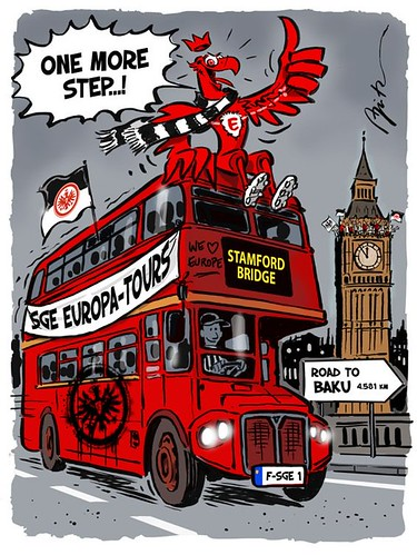 Eintracht Frankfurt - Europa Lge semi-final v Chelsea - London bus to Stamford Bridge cartoon