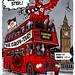Eintracht Frankfurt - Europa Lge semi-final v Chelsea - London bus to Stamford Bridge cartoon