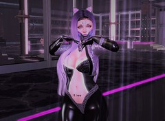 Just Wandering About~ (CandyCottonDreams) Tags: sl secondlife genus classic maitreya enfersombre ghoul {moonphase} cherryish cyber purple latex mask dark girl mewsery {song}