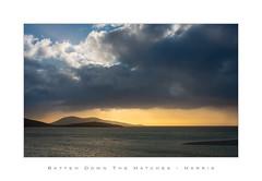 Batten Down the Hatches - Harris (Ken Walker Photography) Tags: glow landscape sunset travel outerhebrides mountains sea seascape scotland storm isleofharris clouds