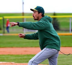 Holyoke Dragons head coach argues in the seventh inning that the 2-2 tying run should score due to a balk.- PLDL6980 (Paul L Dineen) Tags: themes controversy holyokedragons sports teams others varsity level akron places otherplaces fiveschools 201905 2019 dates 20190511 highschool 5schools wigginstigers boys gender types baseball