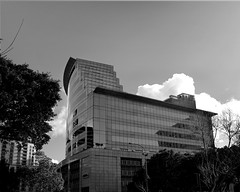 Building (digitalmavin) Tags: architecture building clouds sky reflection glasswindows trees highlights shadows contrast canon capetown blackandwhite blackandwhitephotography southafrica africa