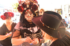 A smile before painting another face (radargeek) Tags: 2017 october dayofthedead plazadistrict okc oklahomacity facepaint catrina smile