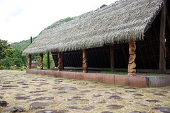 Ceremonial hut in Nuku Hiva (jjknitis) Tags: 2019 carved cruise eurodam hollandamerica island march30 marquesas nukuhiva polynesia southpacific thatched