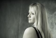 Margot4 (Nihat Alacahan) Tags: portrait woman girl white monochrome face pretty visage look regard virage eyes blonde studio pentax pentaxart