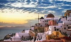 Mini Market (Rob McC) Tags: santorini sunset sundown dusk goldenhour thighlight landscape buildings architecture greek coast sea windmill