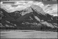 Athabasca River (greenschist) Tags: athabascariver river forest alberta mountains blackwhite canada jaspernationalpark water clouds