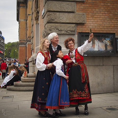A Norwegian Family (RobertCross1 (off and on)) Tags: 20mmf17panasonic constitutionday em5 europe may17 norge norway omd olympus oslo city family portrait selfportrait selfie syttendemai urban