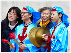 Keeping the Beat (donbyatt) Tags: london trafalgarsquare people candid street dance costumes falungong