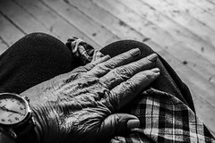Old Hand (kightp) Tags: 2019 35mm bwproject gprojects handsnails plaid porch smoothrough watch