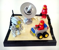 Neo-Classical Space (LegoHobbitFan) Tags: lego moc build model creation classic space spacemen red rover robot radar dish planet vignette tan blue gray grey