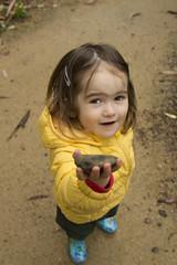 here's a rock for you, mummy! (louisa_catlover) Tags: portrait family child toddler daughter tabitha tabby outdoor nature garden rock yellowjacket autumn cold wet karwarra karwarraaustraliannativebotanicgarden dandenongs