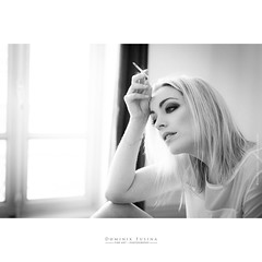 Smoky (dominikfoto) Tags: femme girl portrait portraiture cigarette smoke smoky blonde blondgirl blondhair fusina fusinadominik beauty comédienne actress glamour nb bw sigma sigmaart fenetre window visage juliette