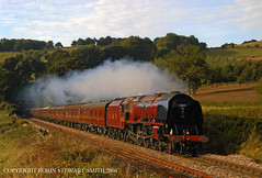 LMS Duchess No 6233 'Duchess of Sutherland' heads north away from Milford Tunnel with a Derby-Scarborough on 14th September 2004 (robinstewart.smith) Tags: lms duchess milford tunnel 2004