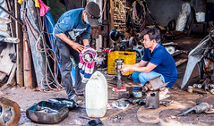2019 - Cambodia - Sihanoukville - Tumnuk Rolok (Ted's photos - Returns Early February) Tags: 2019 cambodia cropped nikon nikond750 nikonfx tedmcgrath tedsphotos vignetting goggles sunglasses workers two pair duo shaft facemask hoses tumnukrolok tumnukrolokcambodia tumnukroloksihanoukville sihanoukville ក្រុងព្រះសីហនុ